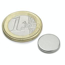 S-13-02-N Disque magnétique Ø 13 mm, hauteur 2 mm, tient env. 1,8 kg, néodyme, N45, nickelé