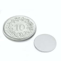 S-13-01-N Disco magnetico Ø 13 mm, altezza 1 mm, neodimio, N45, nichelato