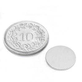S-13-01-N Disc magnet Ø 13 mm, height 1 mm, neodymium, N45, nickel-plated