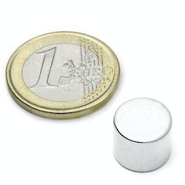 S-12-10-N Disco magnético Ø 12 mm, alto 10 mm, sujeta aprox. 5,3 kg, neodimio, N45, niquelado