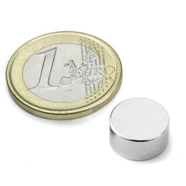 S-12-06-DN Disc magnet Ø 12 mm, height 6 mm, neodymium, N42, nickel-plated, diametrically magnetised