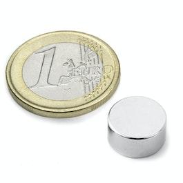 S-12-06-DN Disco magnetico Ø 12 mm, altezza 6 mm, neodimio, N42, nichelato, magnetizzato diametralmente