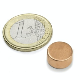 S-12-06-K Disc magnet Ø 12 mm, height 6 mm, neodymium, N45, copper-plated