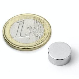 S-12-05-N Disco magnetico Ø 12 mm, altezza 5 mm, neodimio, N45, nichelato