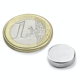 S-12-04-N Disc magnet Ø 12 mm, height 4 mm, holds approx. 3,1 kg, neodymium, N45, nickel-plated