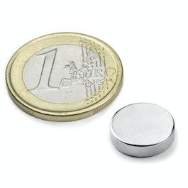 S-12-03-N Disco magnetico Ø 12 mm, altezza 3 mm, neodimio, N45, nichelato