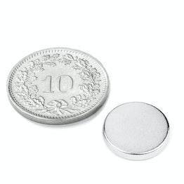 S-12-02-N Disco magnetico Ø 12 mm, altezza 2 mm, neodimio, N45, nichelato
