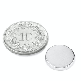 S-12-02-N Disco magnetico Ø 12 mm, altezza 2 mm, tiene ca. 1.7 kg, neodimio, N45, nichelato