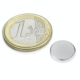 S-12-02-N Disc magnet Ø 12 mm, height 2 mm, neodymium, N45, nickel-plated