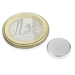 S-12-02-N Scheibenmagnet Ø 12 mm, Höhe 2 mm, hält ca. 1,7 kg, Neodym, N45, vernickelt
