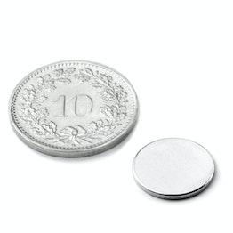 S-12-01-N Disc magnet Ø 12 mm, height 1 mm, neodymium, N42, nickel-plated