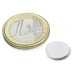 S-12-01-N Disc magnet Ø 12 mm, height 1 mm, neodymium, N42, nickel-plated