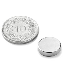 S-12-03-N Disque magnétique Ø 12 mm, hauteur 3 mm, tient env. 2.4 kg, néodyme, N45, nickelé