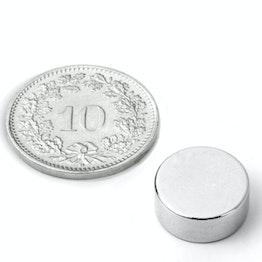 S-12-05-N Disco magnético Ø 12 mm, alto 5 mm, sujeta aprox. 3.6 kg, neodimio, N45, niquelado