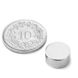 S-12-06-N Disco magnetico Ø 12 mm, altezza 6 mm, neodimio, N45, nichelato