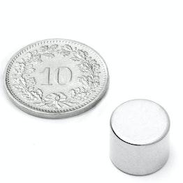 S-12-10-N Schijfmagneet Ø 12 mm, hoogte 10 mm, houdt ca. 5.3 kg, neodymium, N45, vernikkeld