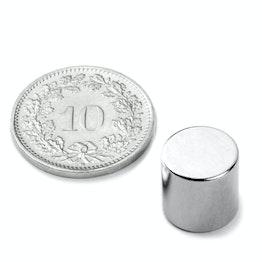 S-10-10-N Scheibenmagnet Ø 10 mm, Höhe 10 mm, Neodym, N45, vernickelt