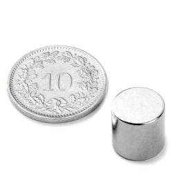 S-10-10-N Schijfmagneet Ø 10 mm, hoogte 10 mm, houdt ca. 3.9 kg, neodymium, N45, vernikkeld