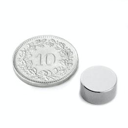S-10-05-DN Schijfmagneet Ø 10 mm, hoogte 5 mm, houdt ca. 1 kg, neodymium, N45, vernikkeld, diametral gemagnetiseerd