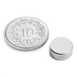 S-10-04-N Disc magnet Ø 10 mm, height 4 mm, neodymium, N42, nickel-plated