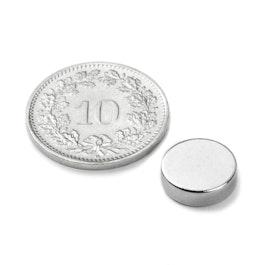 S-10-2.5-N Disco magnetico Ø 10 mm, altezza 2.5 mm, neodimio, N42, nichelato