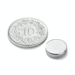 S-10-2.5-N Disco magnético Ø 10 mm, alto 2.5 mm, sujeta aprox. 1.6 kg, neodimio, N42, niquelado