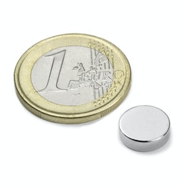 S-10-2.5-N Disco magnético Ø 10 mm, alto 2,5 mm, neodimio, N42, niquelado