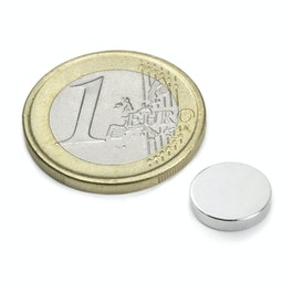 S-10-02-N Disque magnétique Ø 10 mm, hauteur 2 mm, néodyme, N42, nickelé