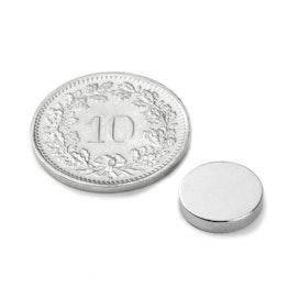 S-10-02-N Disco magnético Ø 10 mm, alto 2 mm, sujeta aprox. 1.3 kg, neodimio, N42, niquelado