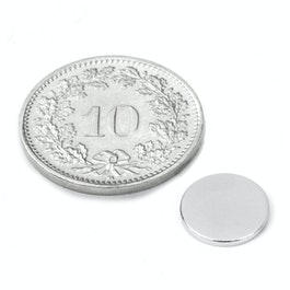 S-10-1.5-N52N Disque magnétique Ø 10 mm, hauteur 1.5 mm, néodyme, N52, nickelé