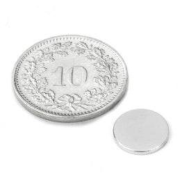 S-10-1.5-N52N Disque magnétique Ø 10 mm, hauteur 1.5 mm, tient env. 1.2 kg, néodyme, N52, nickelé