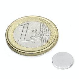 S-10-1.5-N52N Disco magnetico Ø 10 mm, altezza 1,5 mm, tiene ca. 1,2 kg, neodimio, N52, nichelato
