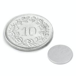 S-10-0.6-N Disque magnétique Ø 10 mm, hauteur 0.6 mm, tient env. 310 g, néodyme, N35, nickelé
