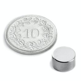 S-09-05-N Disco magnético Ø 9 mm, alto 5 mm, neodimio, N50, niquelado