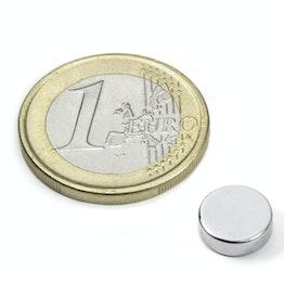 S-09-03-N52N Disque magnétique Ø 9 mm, hauteur 3 mm, tient env. 2 kg, néodyme, N52, nickelé