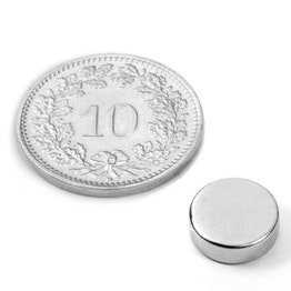 S-09-03-N52N Disc magnet Ø 9 mm, height 3 mm, neodymium, N52, nickel-plated
