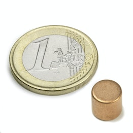 S-08-08-K Disc magnet Ø 8 mm, height 8 mm, holds approx. 2,5 kg, neodymium, N45, copper-plated
