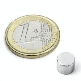 S-08-06-N52N Disc magnet Ø 8 mm, height 6 mm, holds approx. 2,6 kg, neodymium, N52, nickel-plated