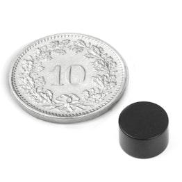 S-08-05-E Disco magnético Ø 8 mm, alto 5 mm, neodimio, N45, con recubrim. epoxi