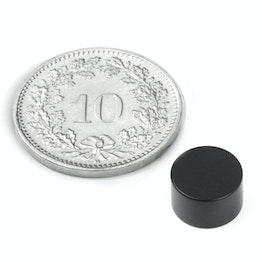 S-08-05-E Disco magnético Ø 8 mm, alto 5 mm, sujeta aprox. 2 kg, neodimio, N45, con recubrim. epoxi