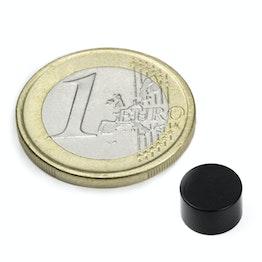 S-08-05-E Disque magnétique Ø 8 mm, hauteur 5 mm, tient env. 2 kg, néodyme, N45, revêtement époxy