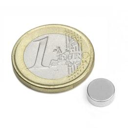 S-08-03-N Disco magnetico Ø 8 mm, altezza 3 mm, neodimio, N45, nichelato