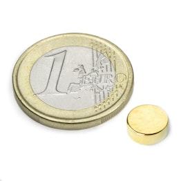 S-08-03-G Disco magnetico Ø 8 mm, altezza 3 mm, neodimio, N40, dorato