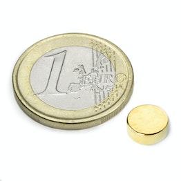 S-08-03-G Disque magnétique Ø 8 mm, hauteur 3 mm, tient env. 1,3 kg, néodyme, N40, doré