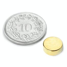 S-08-03-G Disco magnético Ø 8 mm, alto 3 mm, sujeta aprox. 1.3 kg, neodimio, N40, dorado