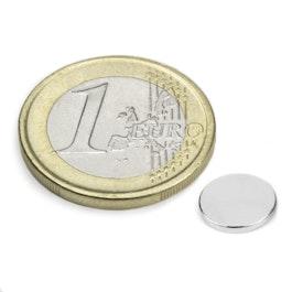 S-08-01-N Disco magnetico Ø 8 mm, altezza 1 mm, neodimio, N45, nichelato
