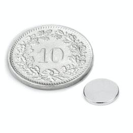 S-08-01-N Schijfmagneet Ø 8 mm, hoogte 1 mm, houdt ca. 540 gr, neodymium, N45, vernikkeld