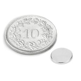 S-08-01-N Disc magnet Ø 8 mm, height 1 mm, neodymium, N45, nickel-plated