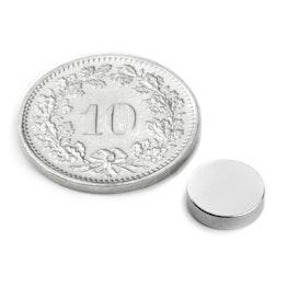S-08-02-N Disco magnetico Ø 8 mm, altezza 2 mm, tiene ca. 1.1 kg, neodimio, N45, nichelato
