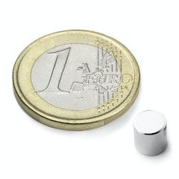 S-06-06-N Disc magnet Ø 6 mm, height 6 mm, neodymium, N48, nickel-plated
